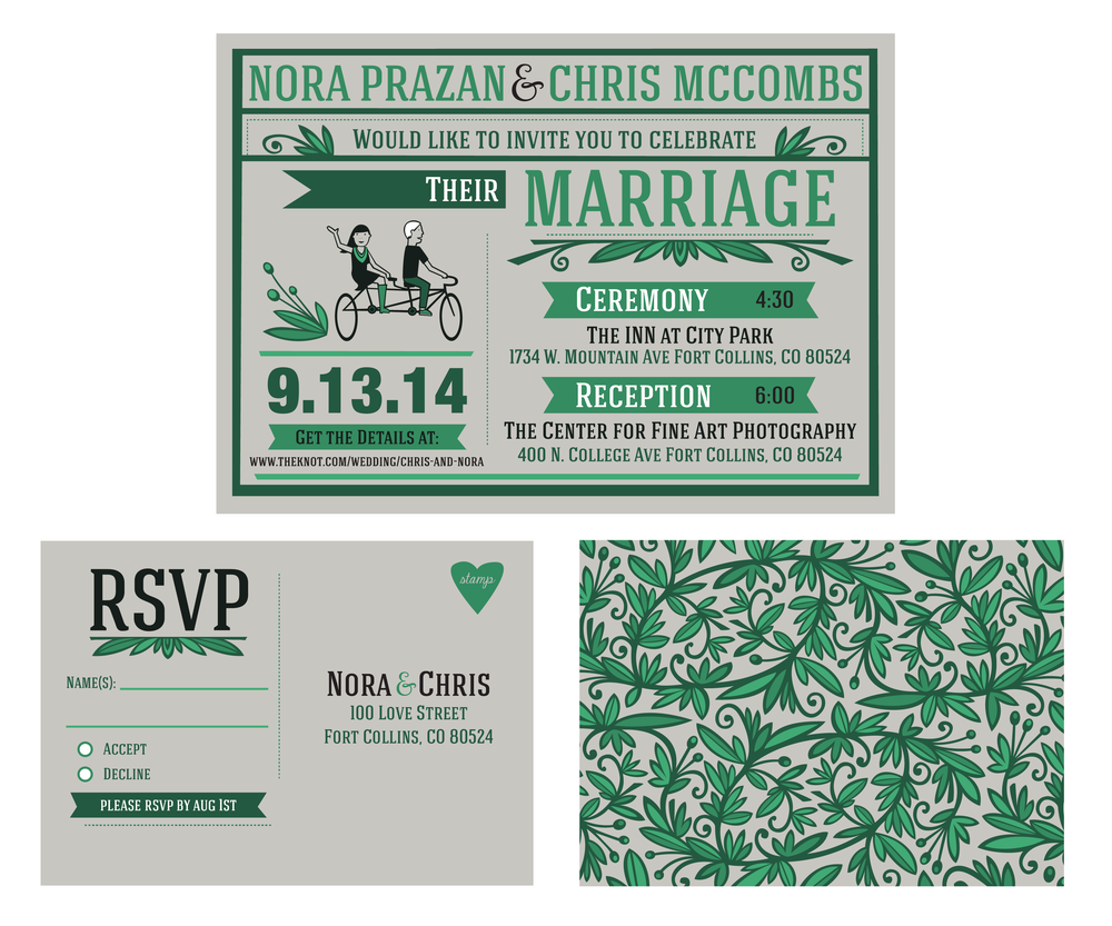 Emerald Tandem Wedding Stationary