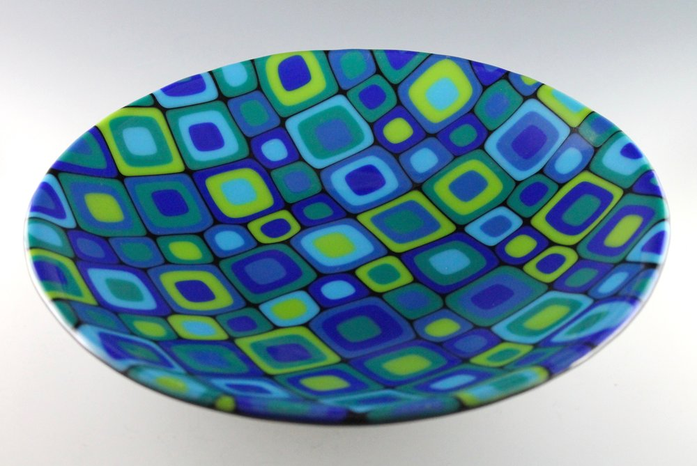 "Cellular - 10"" diameter fused glass bowl"