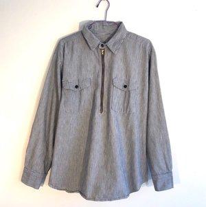 833251d1 Blue Strip Denim Shirt with Zipper 1960s