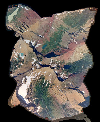 6-photo orthophoto mosaic in Glacier National Park, Montana