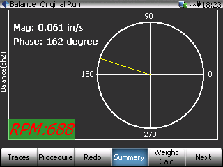 Figure 1: Balance Reading display while taking a measurement using the CoCo rotor balancing software