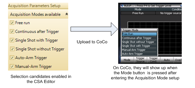 Acquisition modes enabled in CSA Editor will all be shown in the Acquisition Mode setup on CoCo.