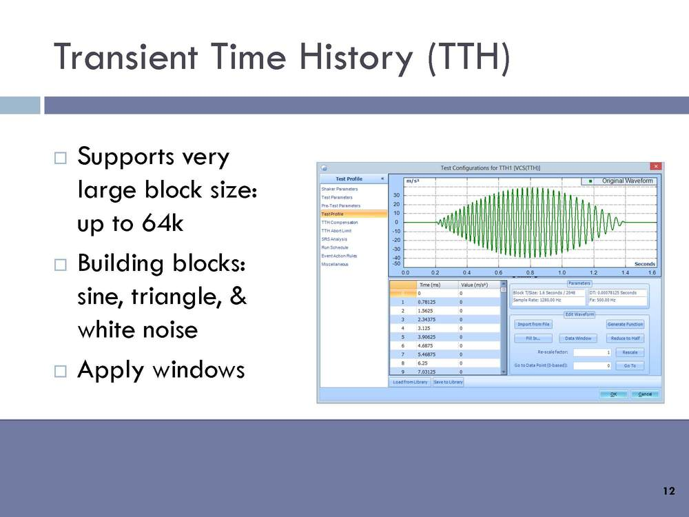 Transient Time History (TTH): Supports very large block size, up to 64K. Building blocks: Sine, triangle, and white noise. Apply windows.