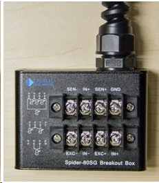 One of eight included Input Channel Adaptors, a breakout box to interface gage wires