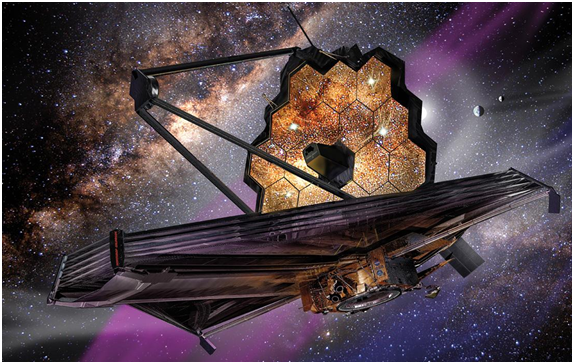 Artist rendition of the James Webb Space Telescope.  Image credit: www.NASA.gov. This post is not endorsed by NASA.