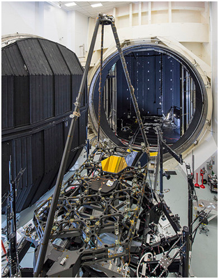 The Pathfinder in front of the huge cryo-vacuum chamber at the Johnson Space Flight Center; the Pathfinder acts as a model of the real telescope optics' housing. Image credit: www.NASA.gov. This post is not endorsed by NASA.