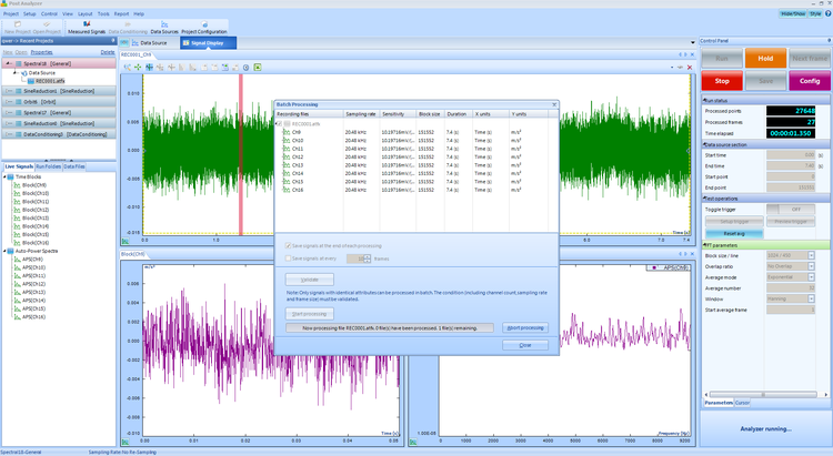 EDM Post Analyzer - The Post Analyzer application is used for the post-processing of previously recorded time stream data. Post processing includes data conditioning, Fourier transform operations, and specialized analyses such as order tracking and octave analysis.