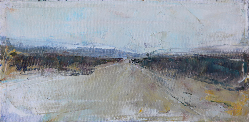 """Desert Road 2   oil   6""""x12"""""""