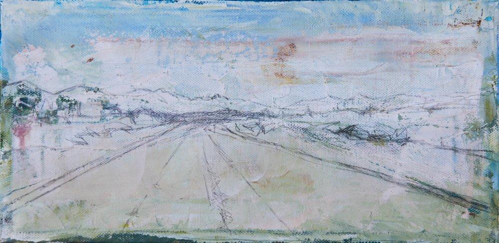 """Desert Road 3   oil   6""""x12"""""""