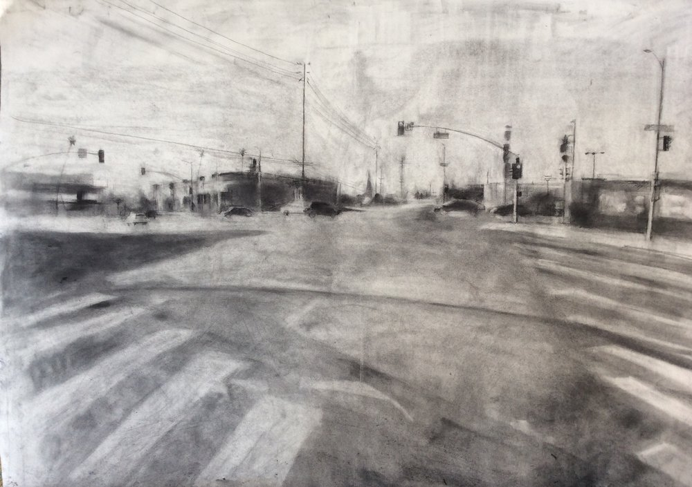 Sunset Intersection  charcoal and graphite