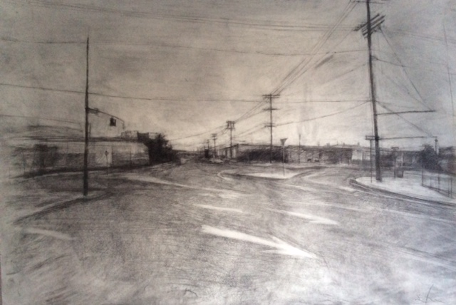 Street corner, arts district   charcoal and graphite