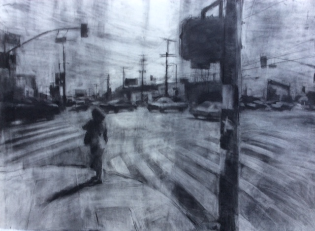 Alvarado crossing. charcoal and graphite.