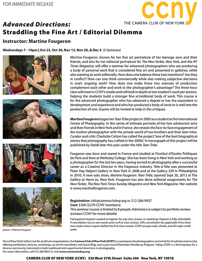 Teaching a Seminar: Advanced Directions: Straddling the Fine Art/Editorial Dilemna in November-December  a t     CCNY  .      www.facebook.com/martinefougeronarts