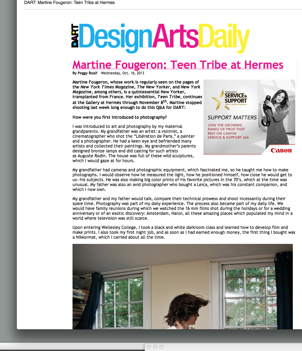 DESIGN ARTS DAILY  has featured  a detailed Q & A with Peggy Roalf in which covers the process in the 6 year development of the Teen Tribe project by Martine Fougeron.
