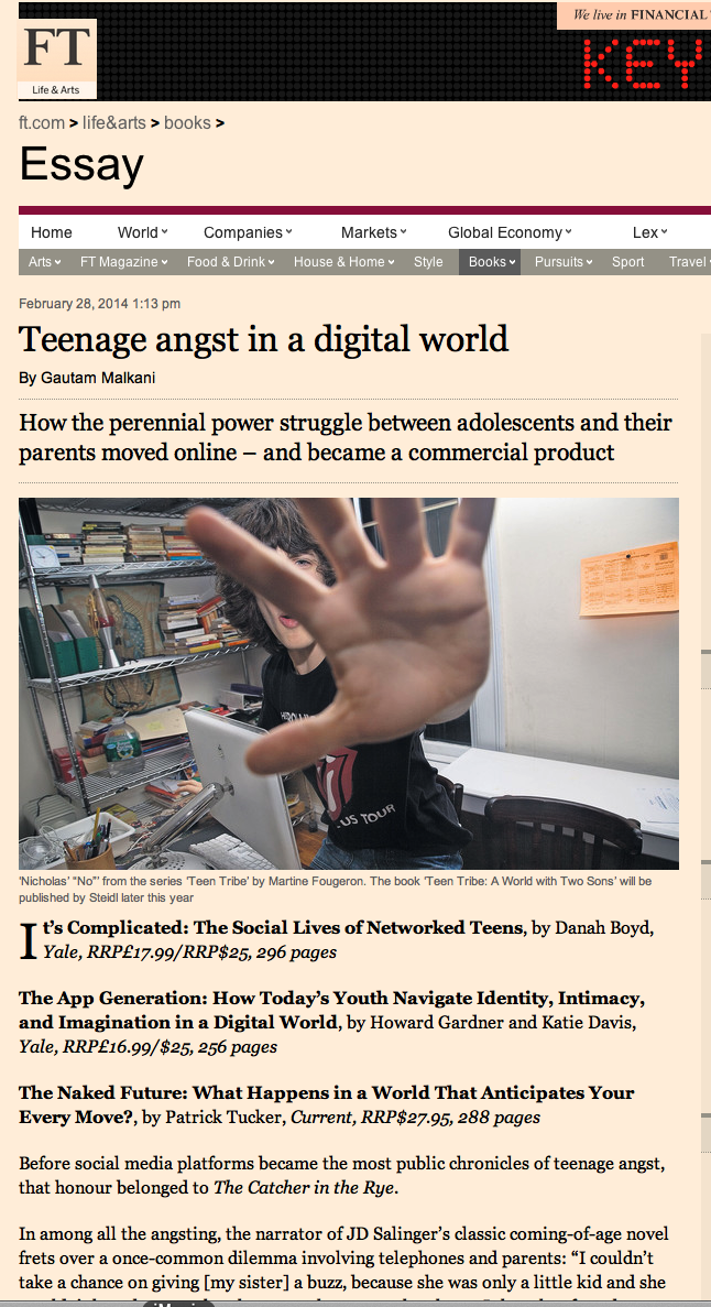 "Article on teenagers and the digital age…illustrated by one of my photographs ""Nicolas' NO' taken in 2008… at the beginning of it all. Nicolas got very addicted to The World of Witchcraft.   @FT @GautamMalkani #teentribe #steidlverlag"