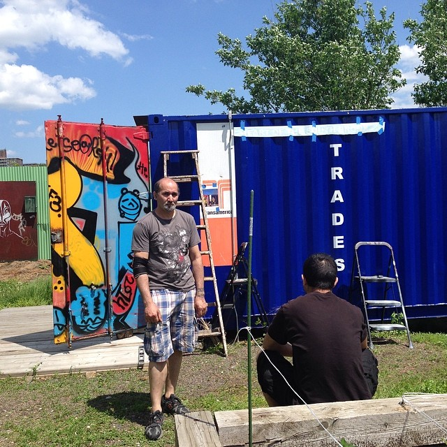 Ttrades exhibition almost ready. Onle title 'Heart of The Bronx 'nerfs its vinyl on the Art Container.  #bronxtrades  (at Hunts Point Riverside Park)