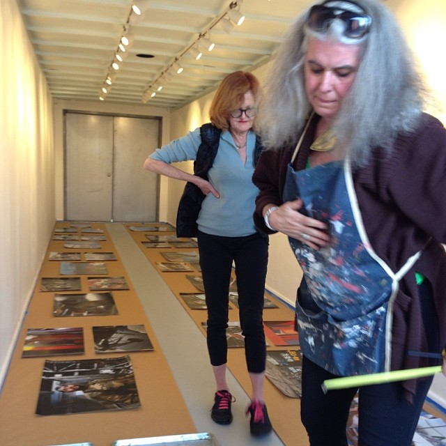 Curator Elisabeth Biondi and project producer Carey Clark laying out the exhibition 'Heart of The South Bronx:Trades' opening Saturday May 17, 5 to 8 pm.  #bronxtrades #thepointartcontainer #elisabethbiondi #careyclark #bxarts  (at Hunts Point Riverside Park)