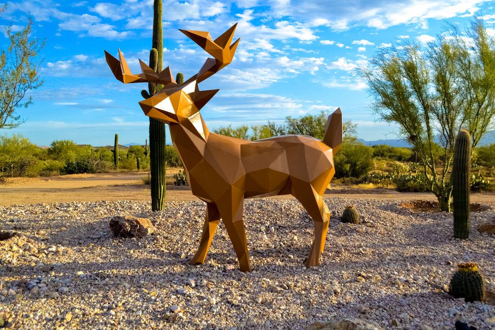 Deer in the Headlights. 2017. Painted Steel. Dimensions Variable.