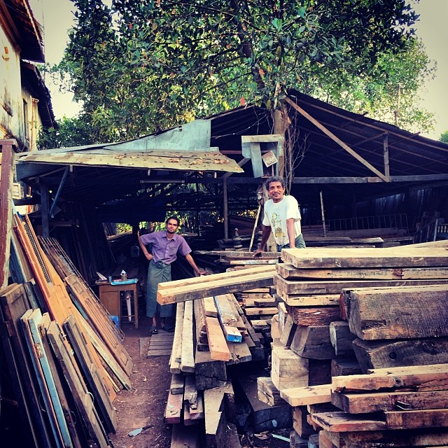Sein Sein Lin and I went foraging around lumber yards today in search of the perfect tree for a hand painted sign for the center #pointbmyanmar #makespace #recycle