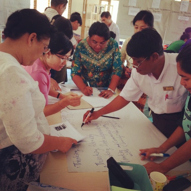 Senior Managers from Mawlamyine University's English Dept co-create their first ever mindmap #pointbmyanmar #mindmap #designthinking