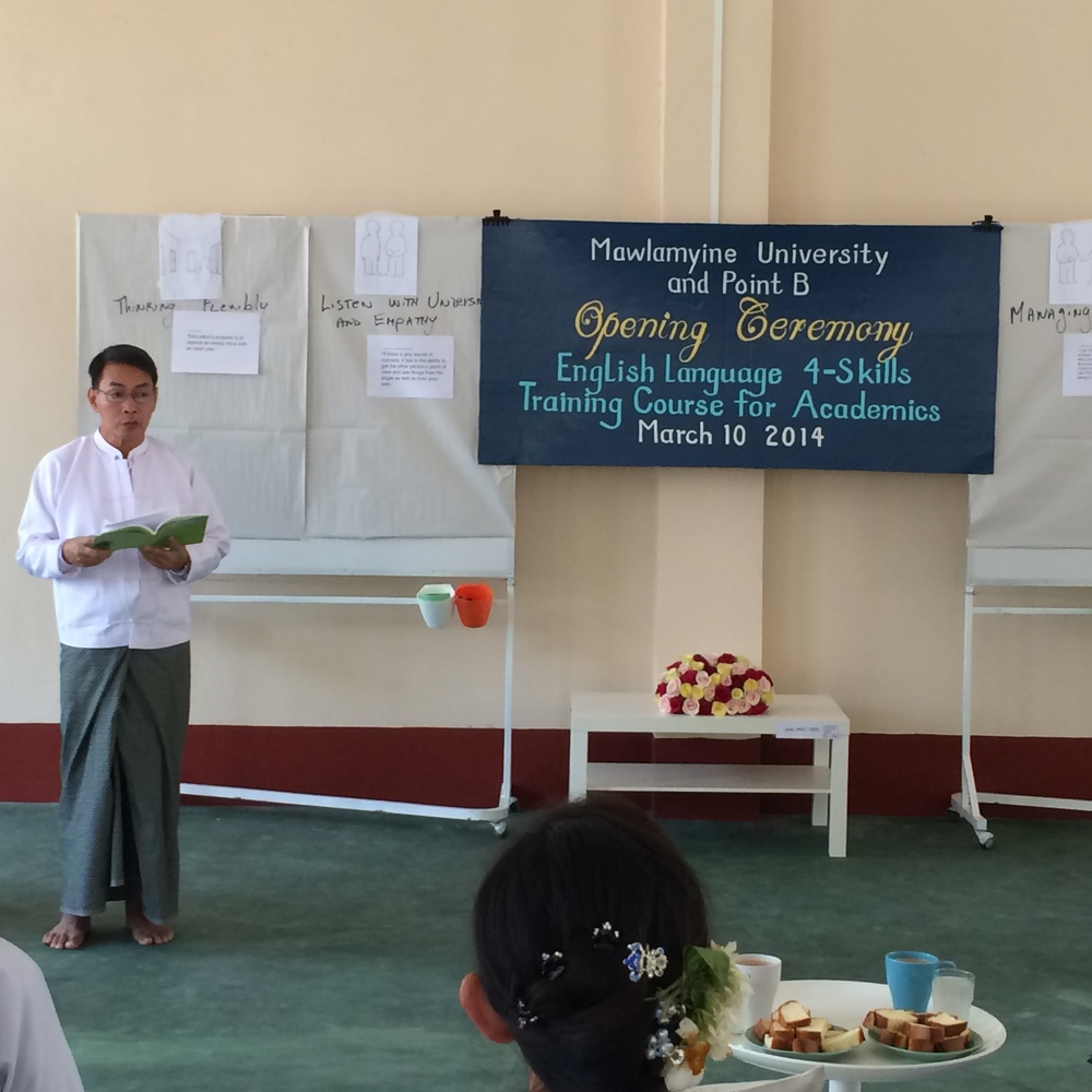 Rector of Mawalmyine University, Dr. Htay Aung, delivers the Opening Ceremony Speech at pointB's new Design-Thinking Center of Community Engagement