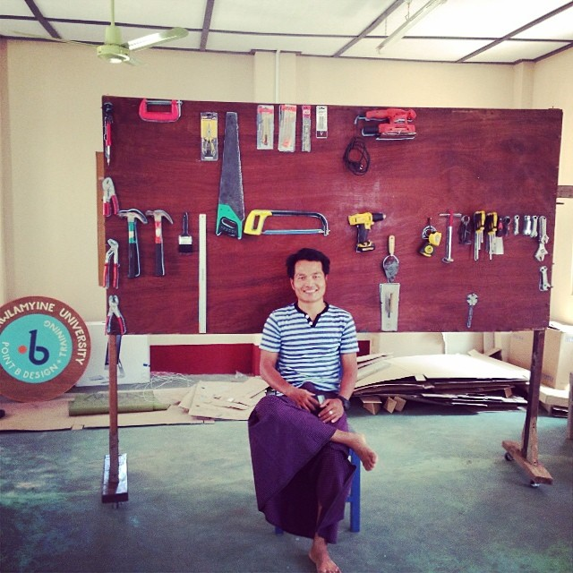 pointB trainer, Jobson, with his DIY toolboard on caster wheels #pointbmyanmar #prototype #makespace #hecandoanything