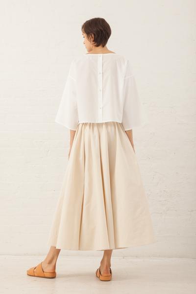 SAMUJI Knot Cotton Kiona Skirt in Ecru