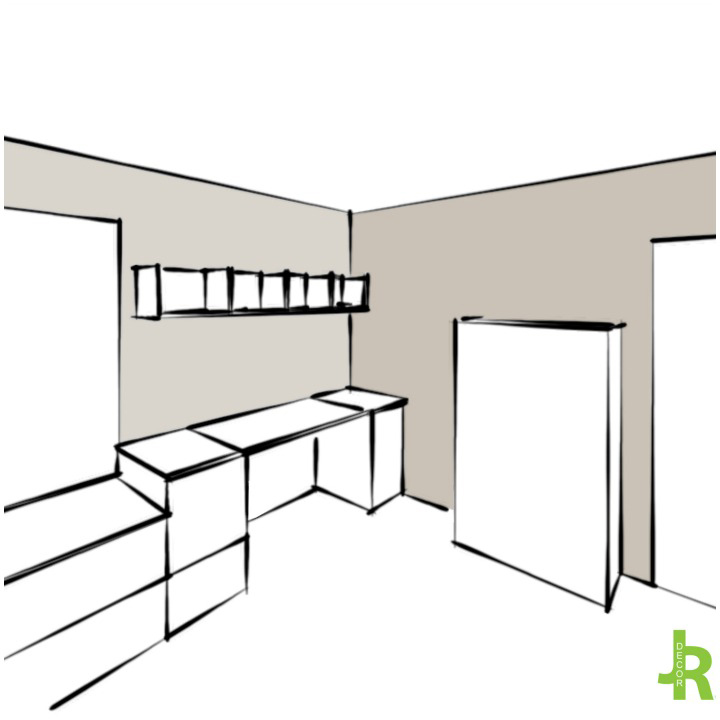 conceptual drawing of the studio by Jillian