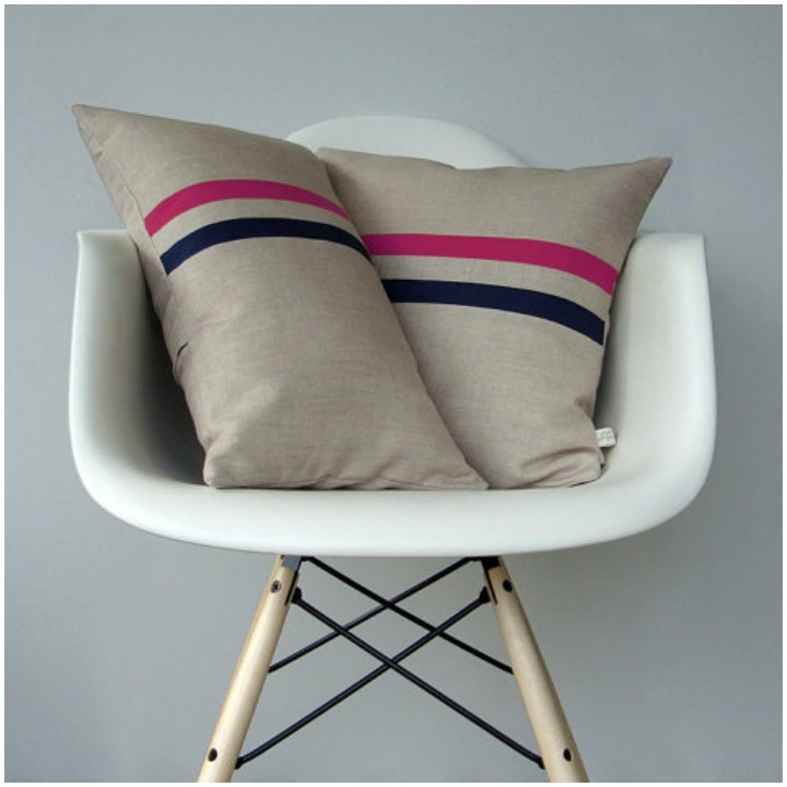 the finished product- skinny stripe pillows