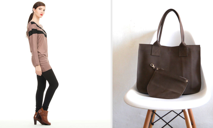 tunic top by Assaf Pelleg and leather tote and pouch by Smadars