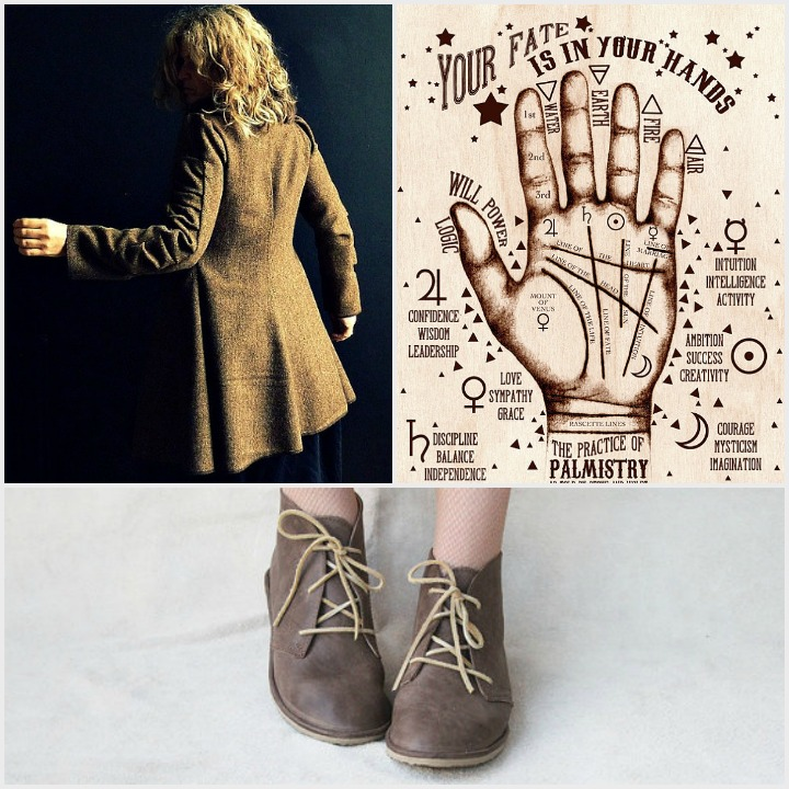 herringbone jacket  by  13 threads ,  palmistry print  by  stone & violet  ,  leather flats  by  the drifter leather