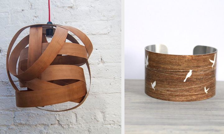 wooden lampshade by random lights and cuff bracelet by peace love beach