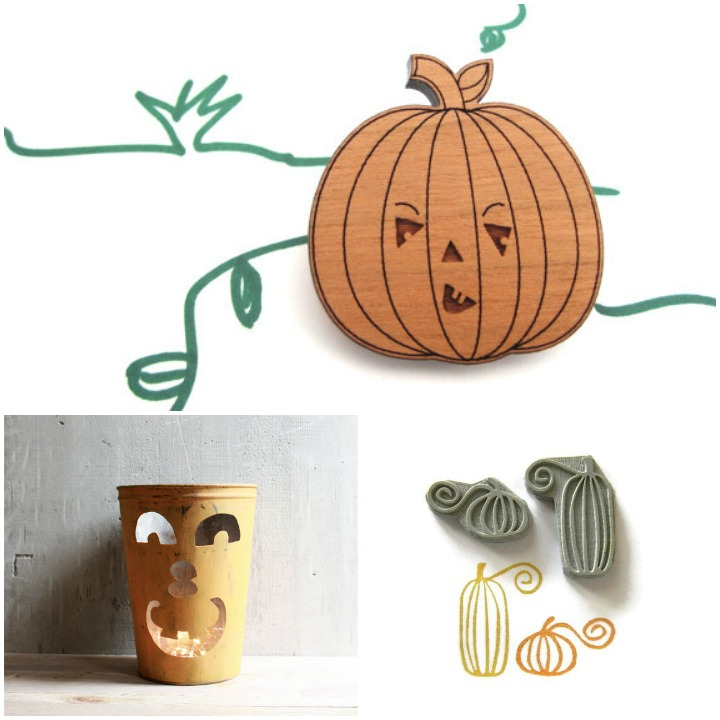 meet up at the pumpkin patch:  pumpkin pin by havok designs,  vintage sap bucket jack o lantern from lovintage finds, pumpkin stamps by creatiate