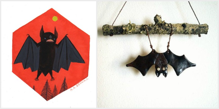 go batty: bat print by medusa wolf, stoneware bat by studio by the forest