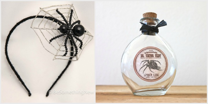 weave a web: spider head band by be something new, spider legs apothecary bottle by the black spruce