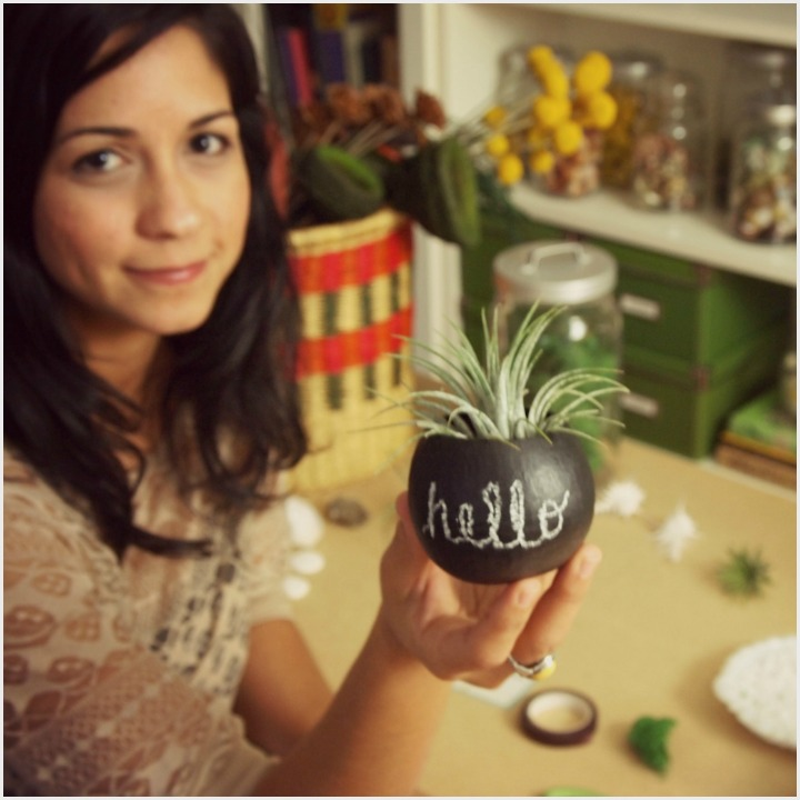 Monica with a plant pod + tillandsia