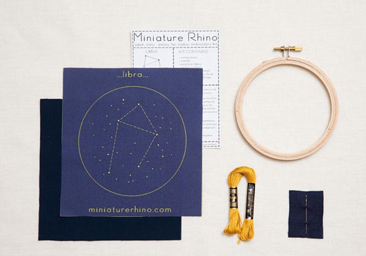 diy libra zodiac embroidery kit  |  Miniature Rhino