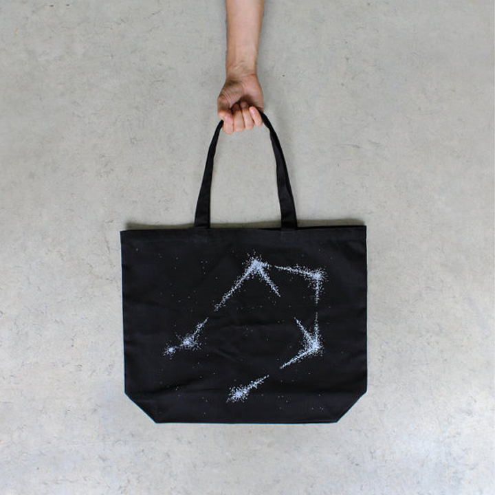 libra constellation tote bag  |  black bird tees