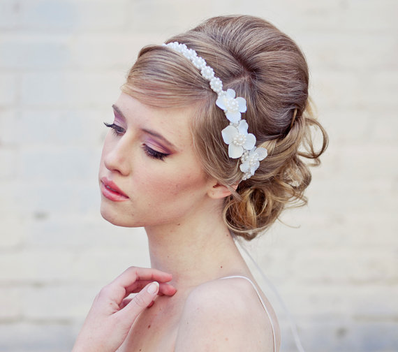 wedding headband with flowers and pearl trim