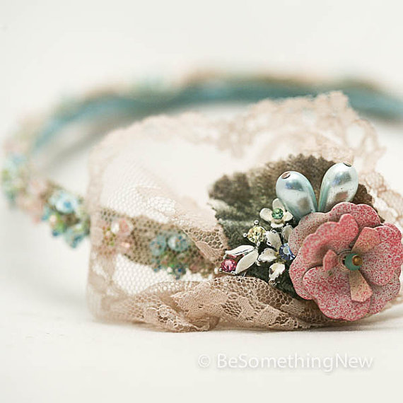 1920's era inspired lace and flower headband
