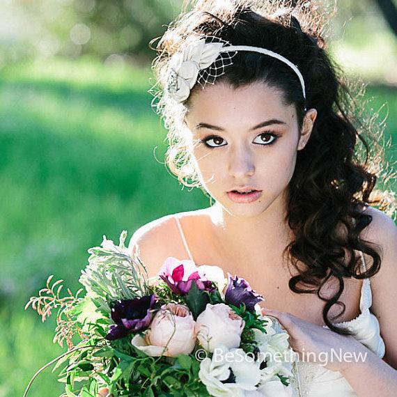 vintage leaves bridal headband