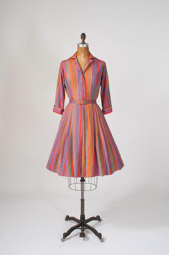 vintage 1950's striped shirt dress