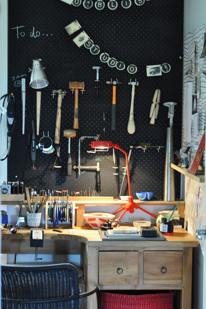 a view of Maria's work space and just a few of her tools