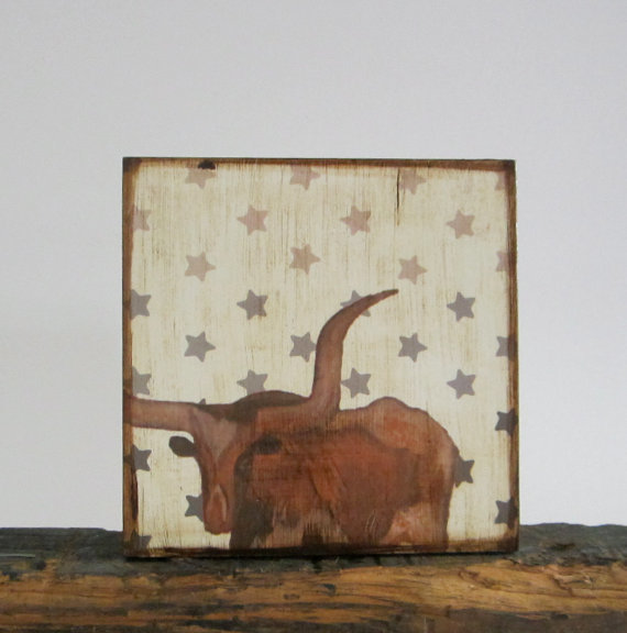 texas longhorn by Red Tile Studio