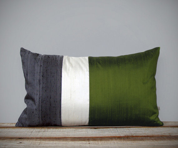 silk color block pillow in olive by Jillian Rene Decor
