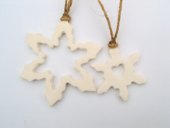 ceramic snowflake ornaments by damson tree pottery