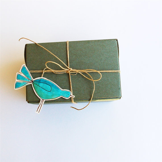 blue bird gift wrap /ornaments by mama bleu designs