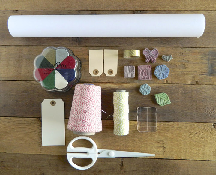 the tools you will need to design your own wrapping paper and gift tags