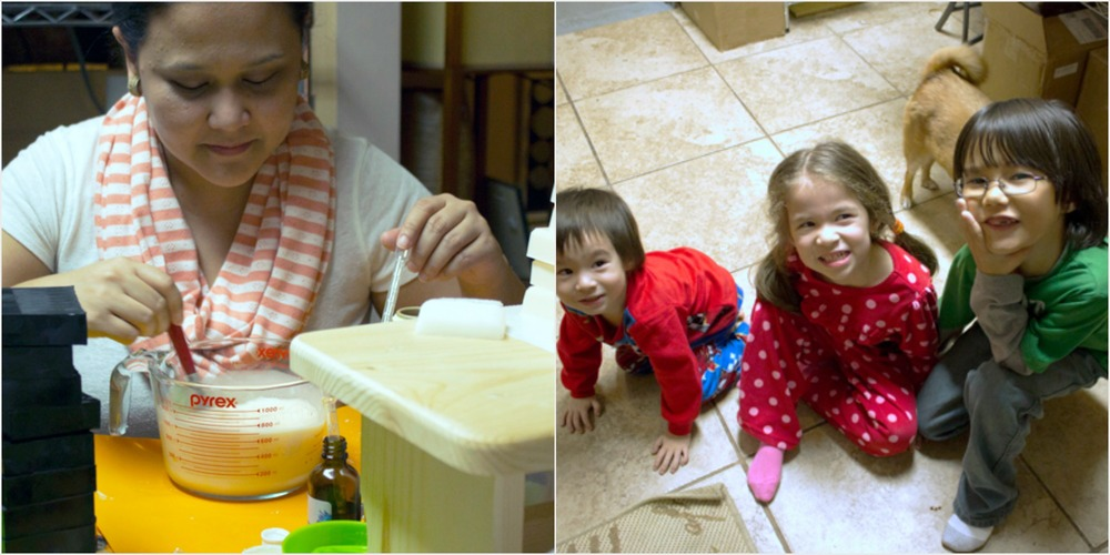 Ginger in the studio (left). Their children that inspired them to create Living Earth Botanicals. (right)