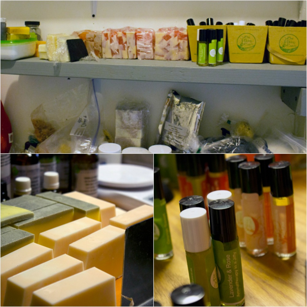 studio scenes: shelves with supplies, freshly cut soap, aromatherapy rollers